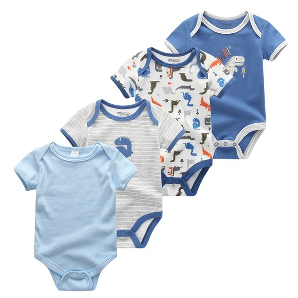 2019 4pcs/lot Baby Girls Clothes Short Sleeve 100%cotton Baby Bodysuits Infant Cartoon Clothing Baby Boy Clothes Roupa De Be Y19050602