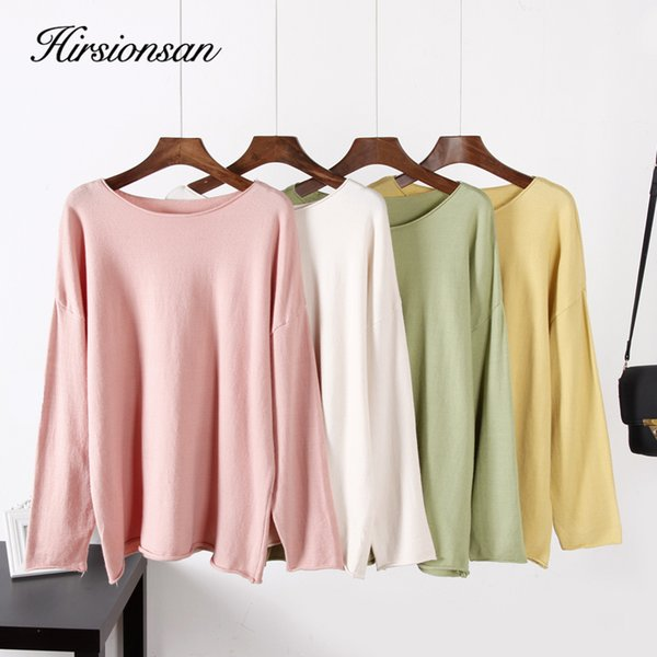 Hirsionsan Sweater Women 2019 Winter Autumn Knitted Street Wear Korean Casual O Neck Candy Color Crimping Oversized Pullovers