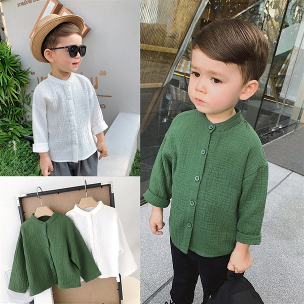 2019 new style springtime hot-sale products Boy's long-sleeved shirt fashion Button design Flip collar comfort 2colour