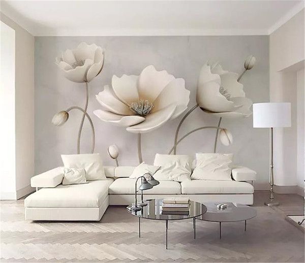 top popular Custom Any Size 3D Mural Wallpaper 3d Nordic Elegant Flower Marble Texture Home Decor Living Room Wall Covering 2021