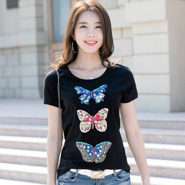 New Luxury Summer Butterfly T-Shirt con paillettes Cristallo da donna Motivi hot fix Stampato 3D Tees Office Lady Business Sexy Slim Graphic Top Tees