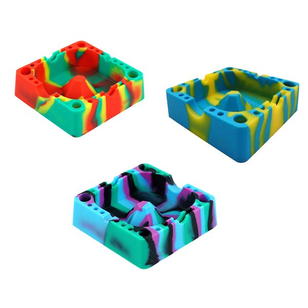 New Silicone Vape Ashtray Unbreakable Shatter Ashtray Cigarette Holder Colorful FDA Silicone Smoking Accessories 10 Pieces
