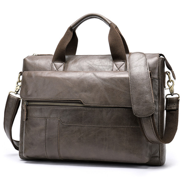 "Natural Genuine Leather Men's Handbags Soft Cowhide Men Shoulder Bag 14"" Laptop Bag Large Capacity Gray Cow Leather Briefcase"