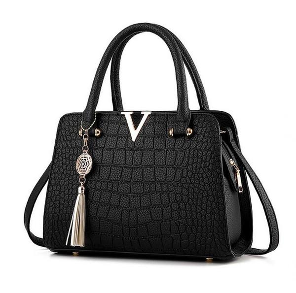 Frau mode krokodilleder V buchstaben Designer-handtaschen Luxus qualität Dame Schulter Crossbody Tasche mit fransen Umhängetasche