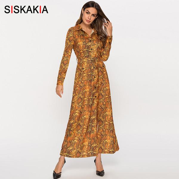 Compre Venta Al Por Mayor Camisa Para Mujer Vestido Primavera 2019 Vestido Largo Maxi Solapa De Un Solo Pecho De Serpiente De Grano Impreso Vestidos