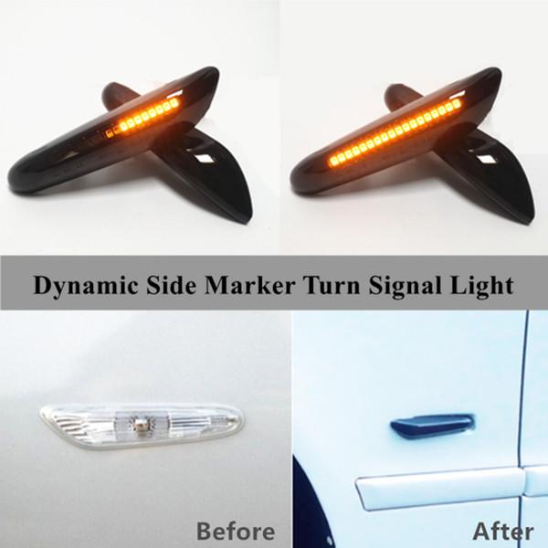 Luz de señal de giro dinámico LED indicador de marcador de guardabarros lateral para BMW 1 3 5 Series X1 E81 E82 E87 E46 E90 E91 E93 E94 E60 E61 E84