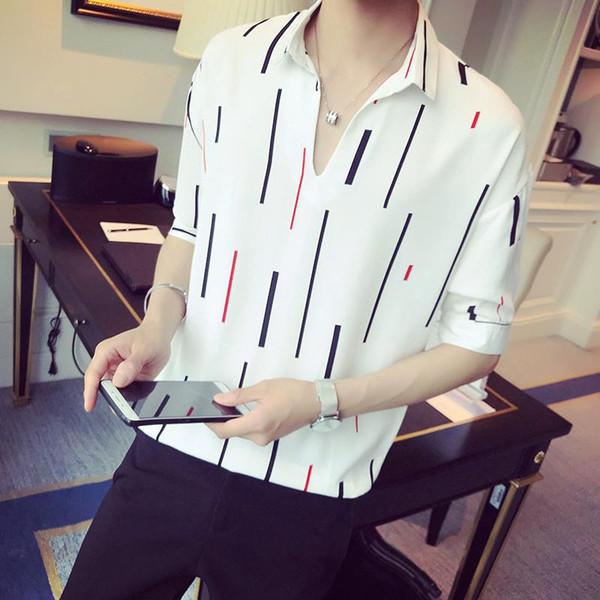 LOLDEAL Summer Shirt a manica corta a cinque punti con maniche a V, scollo a V, camicia casual da uomo