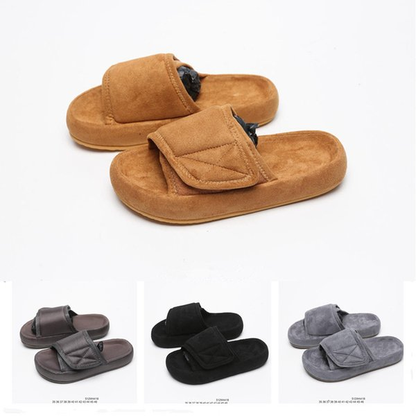 Original Kanye West Season 6 7 Top Designer Nylon Slide 3D Fabric Slides Slippes Best Wolf Wheat Tan Men Women Fashion Slipper Size36-46