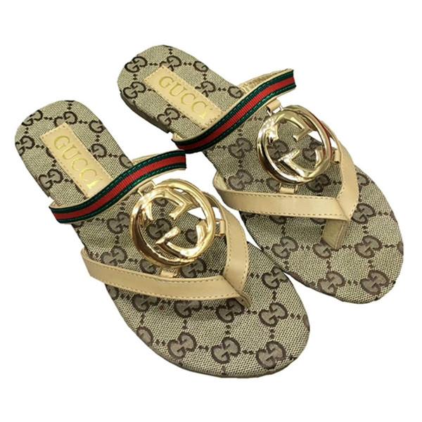 0120 Women Sandals Designer Shoe Luxury Slide Summer Fashion Wide Flat Slippery Sandals Slipper Flip Flop size 35-42