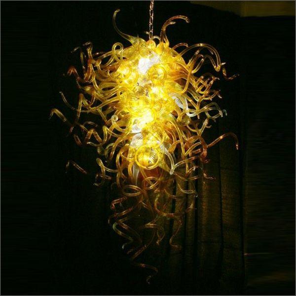 Araña de cristal rústica Soplado a mano Lámparas de techo de cristal de Murano Fuente de luz LED Galss soplado hecho a mano Cadena colgante Araña