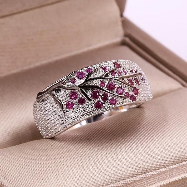 Anello di ramo di albero creativo di rosso / blu / verde / viola foglie di cristallo anelli di diamanti lucenti per le donne unico regalo di gioielli anello corona punk