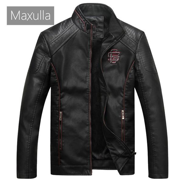 Maxulla PU Veste En Cuir Mens Automne Hiver Hommes Casual Faux Cuir Manteaux Mâle Épais Biker Moto Punk Vestes 4XL