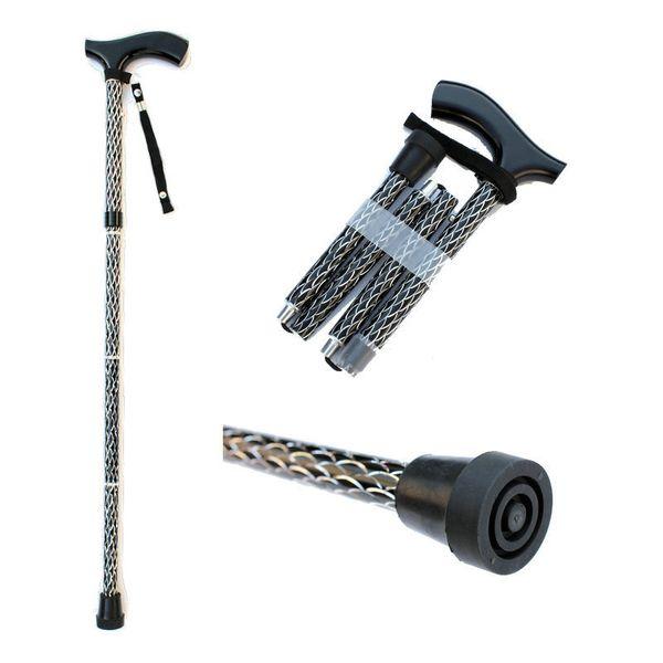 High Quality Thickening Aluminum Alloy Walking Sticks Adjustable 83-95cm 4 Sections T-Handle Folding Trekking Poles Anti-slip Metal Cane