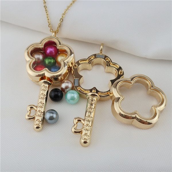 Gold Color Flower Key Glass Locket Necklace  Pearl Memory Photo Locket Pendant Necklace