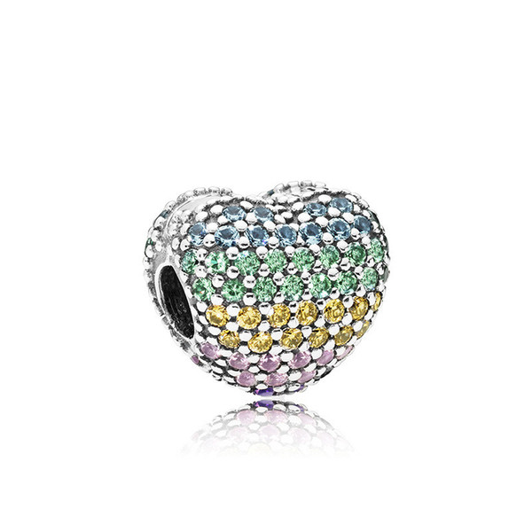 Rainbow Colorful Rhinestone Alloy Charm For Pandora Bracelet Snake Chain Or Necklace Fashion Jewelry Loose Bead