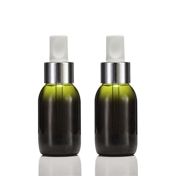 300pcs 50ml Botella de gotero de vidrio verde Recargable Aceite de árbol de té Aromaterapia esencial Contenedor de perfume Botella de pipeta líquida