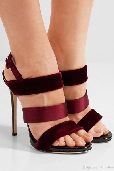 De alta qualidade de veludo, cetim e couro de patente sandálias Slingback Sexy Ladies bombas sandálias das mulheres vestido de festa de casamento Gladiador de salto alto