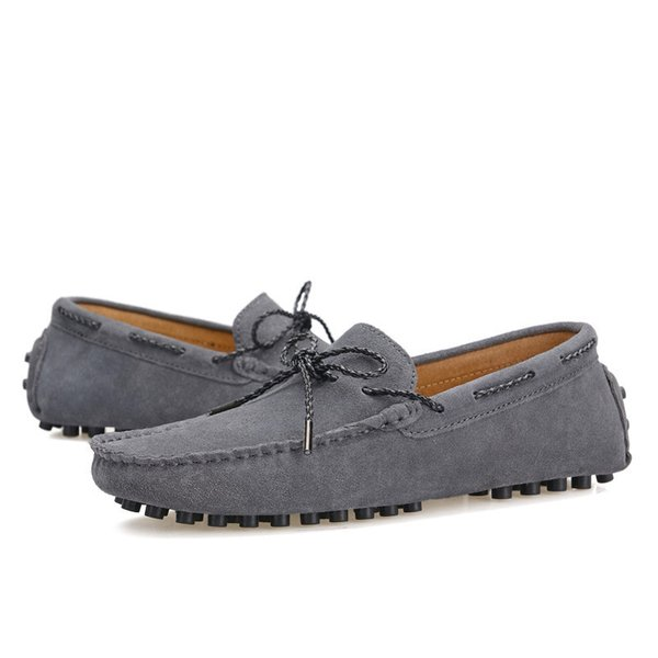 Brand Spring Men Driving Shoe Real Suede Leather Boat Shoes Breathable Male Casual Flats Slip On Moccasins Blue Loafers