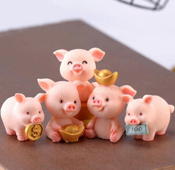 Miniature Pig Figure Animal Piggy Toys Hold Money Fairy Garden Car Home Office Party Decorations 5 Styles/Lot