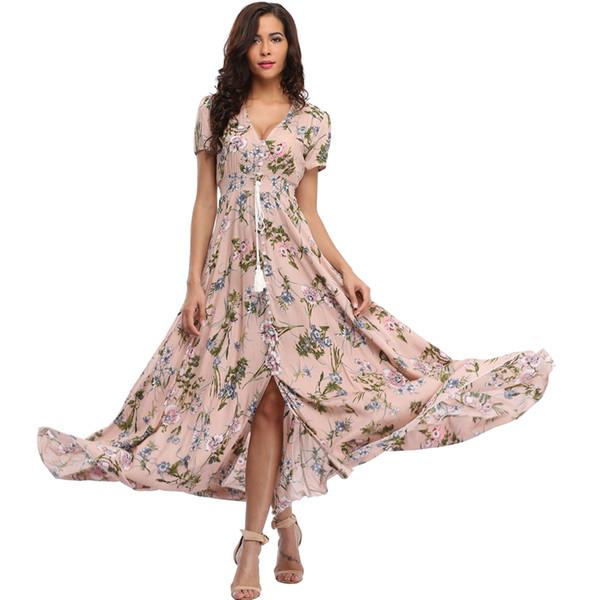 Long Summer Floral Maxi Dress Women Flower Print Casual Split Beach Dress Ladies Elegant Cotton Vintage Boho Party Dresses Q190329