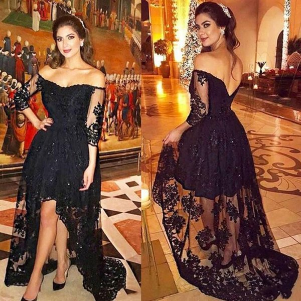 Setwell Off Shoulder High Low Prom Dress Mangas largas Crystal Applique Lace Vestido de noche Negro Sexy Backless Formal Party Gown