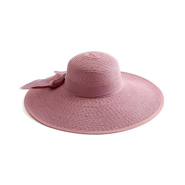 Dora Women Summer Round Flat Top Straw Beach Hat Charming Ladies Bowknot Sun Hat