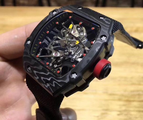 Fashion Brand Black Ribbon carbon fiber Luxury Men Automaic Mechanical Skeleton watch mineral tempered glass For mens Dress Wristwatch Tags