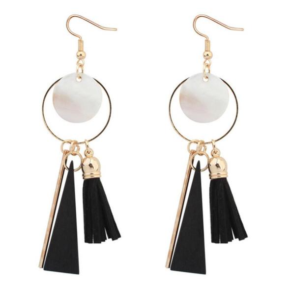Les nouvelles boucles d'oreilles pompon des femmes de la mode géométrique shell bois boucle d'oreille simple style rétro de long bijoux accessoires
