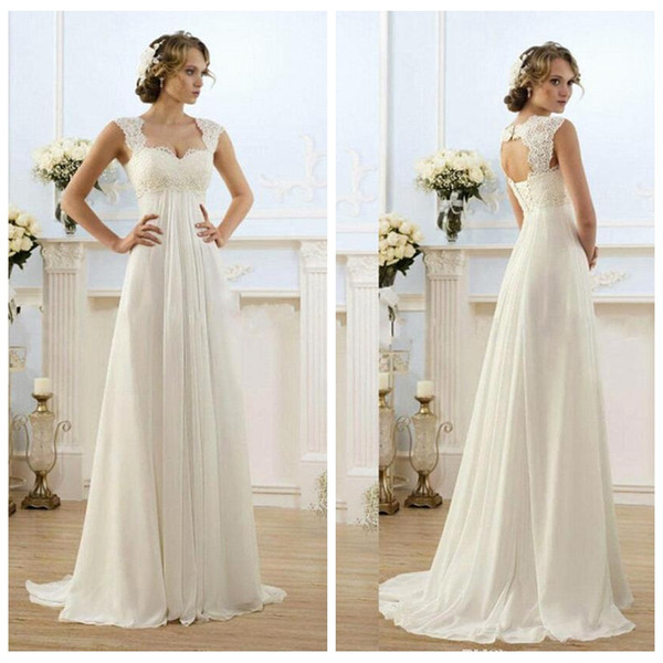 Lace Top Empire Waist A-Line Wedding Dresses Chiffon 2019 Long Bridal Gowns Custom Sleeveless Sweep Train Ladies Pregnant Dress Spring
