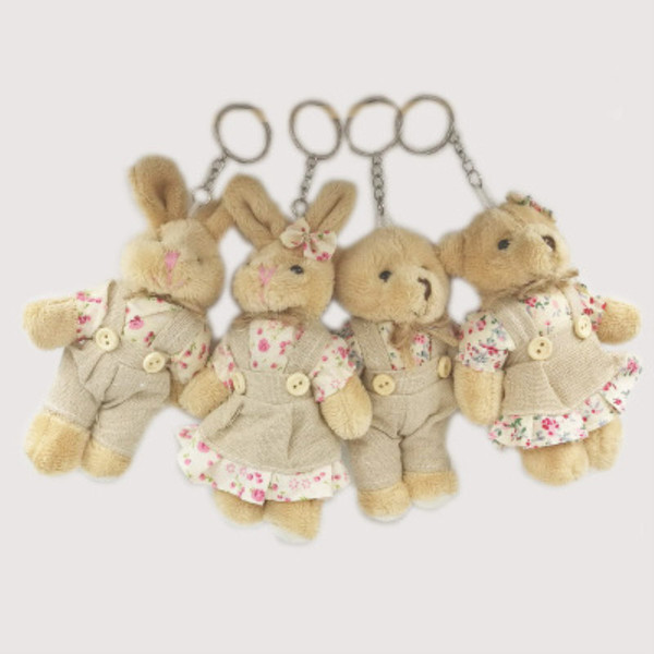 Kawaii Teddy Bear Rabbit Couples Plush Toy Stuffed Animal Soft Cloth Doll Bears Stuffed Plush Pendant Wedding Gifts Key Plush Accessories