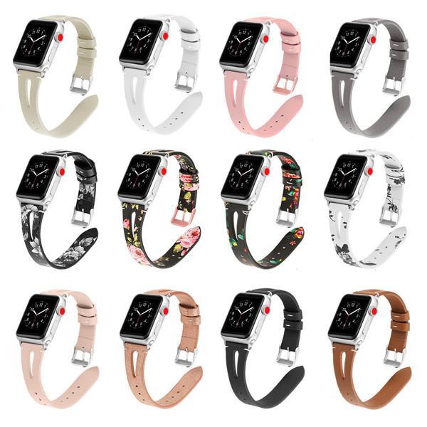 Correa de cuero real genuina para bandas inteligentes de Apple Watch 4 3 2 1 Fitbit Charge 3 Correa 38MM / 42MM 40MM / 44mm Accesorios smartwatch