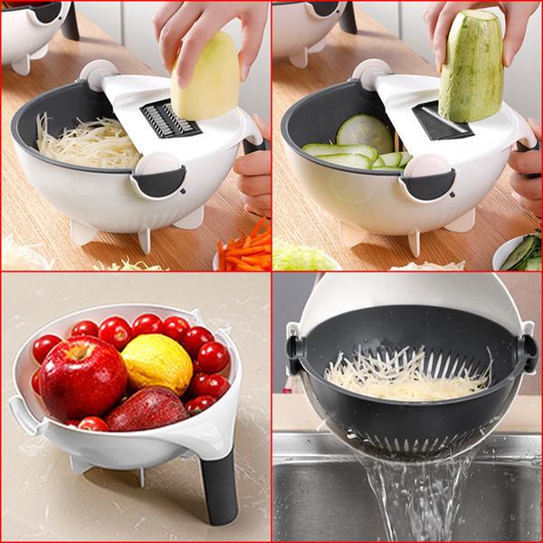 9in1 Mandoline Vegetable Fruit Slicer Cutter Dicer Grater Multi-function Kitchen Chopper Food Slicer Rotate Drain Storage Basket