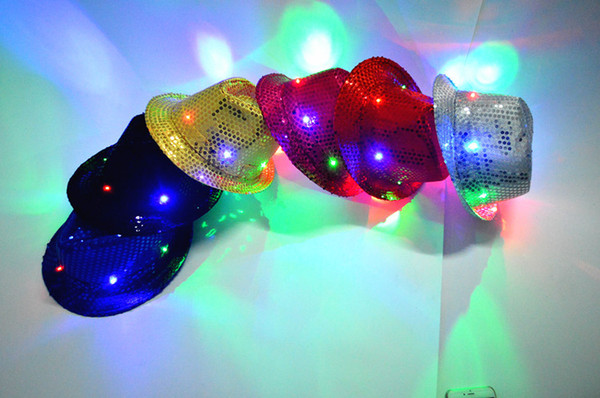 Lampo Light Up Led Fedora Trilby Paillettes Unisex Fancy Dress Dance Party Hat LED Unisex Hip-Hop Jazz Lampada luminoso Cappello B11