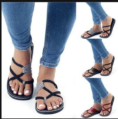 Yaz kadın terlik çapraz lace up plaj flip flop siyah roma peep toe slaytlar büyük boy bayan ayakkabı