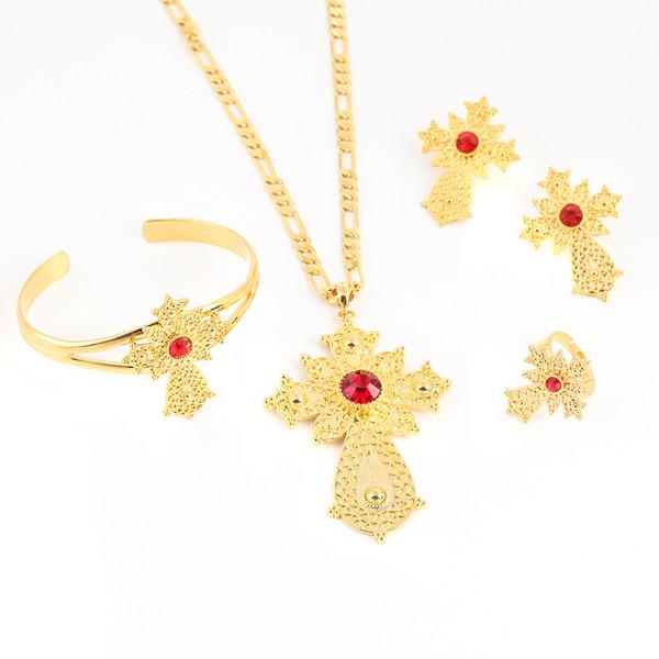 Big Pendant Ethiopian Set Latest Ethiopian Gold Color Cross Set Jewelry Africa Dubai Bridal Wedding Sets