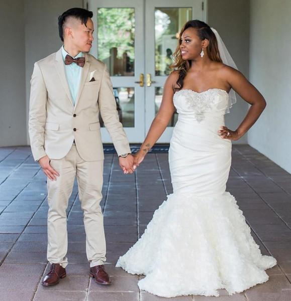 2019 Modest Beaded Sweetheart Strapless Mermaid Wedding Dresses Gowns Rose Ruffles Tiered Skirts Women Bridal Dresses African Bride Dresses