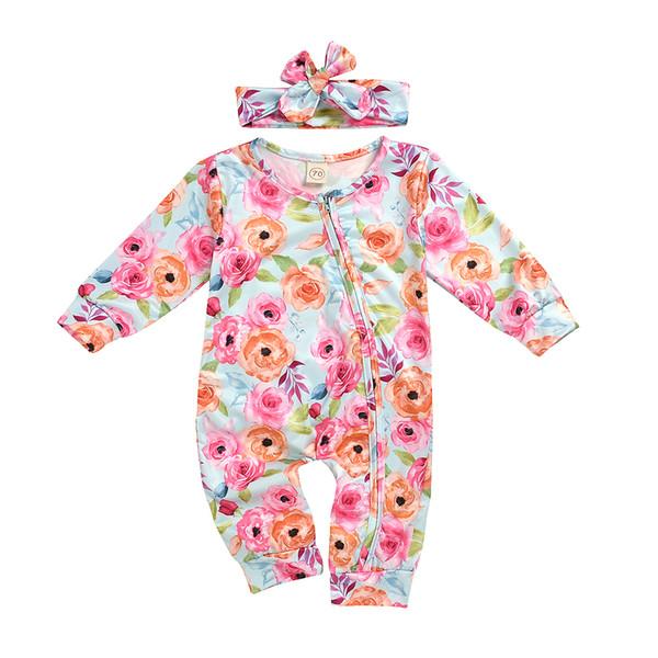 Neugeborene Baby-Kleidung, Säuglingsmädchen-Langarm-Body-Blumendruck-Overall beiläufige Kleidung mit Stirnband