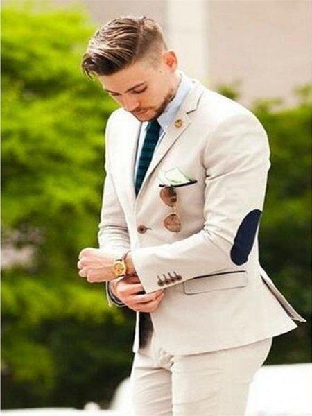 New Patch Design Beige Street Wear Smart Business Male Blazer Slim Fit Groom Tuxedos Groomsmen Wedding Party Prom Suits 2 Pieces