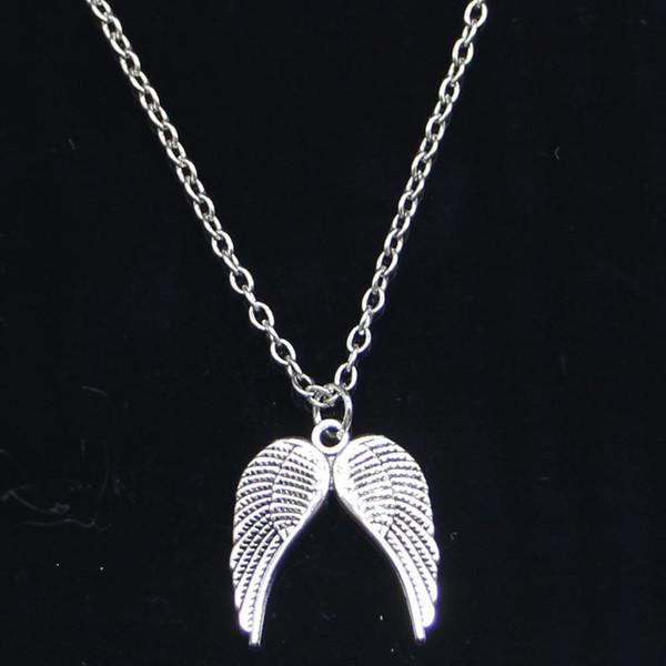 5pcs New Fashion Necklace 21x19mm angel wings Silver Pendants Short Long Women Men Colar Gift Jewelry Choker
