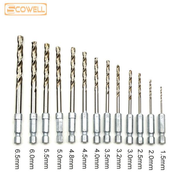 best selling 13pcs lot HSS Drill Bit Set 1 4 Hex Shank Znic 1.5-6.5mm HSS Twist Drill Bits Set for Power tools