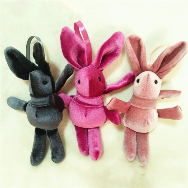 2019 Easter Wishing Rabbit Pendant Plush Doll Toy Animal Stuffed Long Legs Bunny Pendants for backpack flower rabbits Key Chain Kids Gift