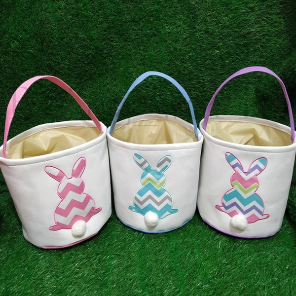 Personalized Easter Basket Bunny Tail Basket Monogrammed Easter Buckets Rabbit Barrels Easter Egg Organizer 3 Designs Free Shipping YW2012