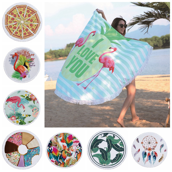 best selling 72 designs Summer Round Beach Towel With Tassels 59 inches Picnic mat 3D printed Flamingo Windbell Tropical Blanket girls bathing towels
