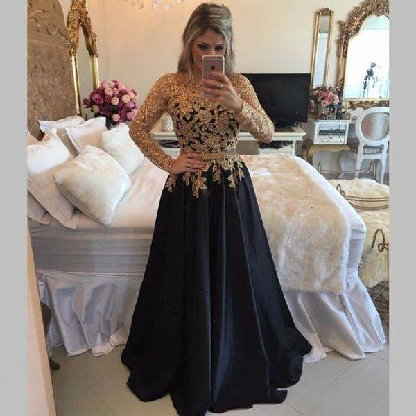 Elegant Gold Lace Beaded Evening Dresses Vestidos De Festa Long Sleeves Prom Dress Floor Length Black Formal Party Gowns Graduation Dresses
