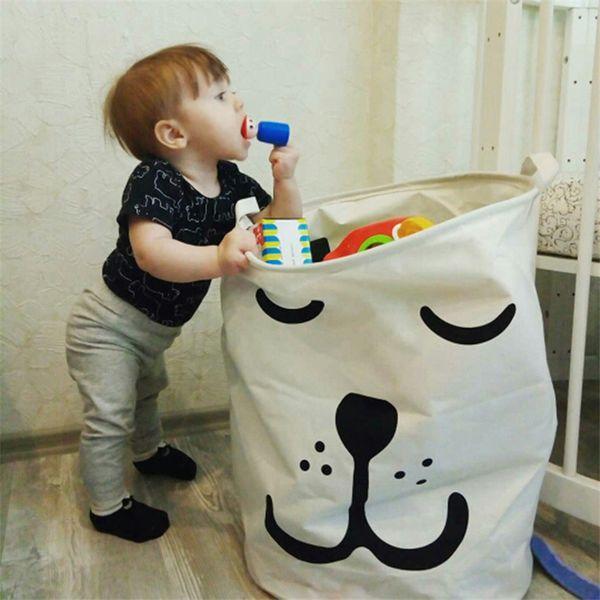 top popular 40*50cm Picnic Basket Stand Laundry Basket Toy Storage Box Cotton Washing Storage Bucket Dirty Clothes Big Basket Organizer Bin Handle A05 2019