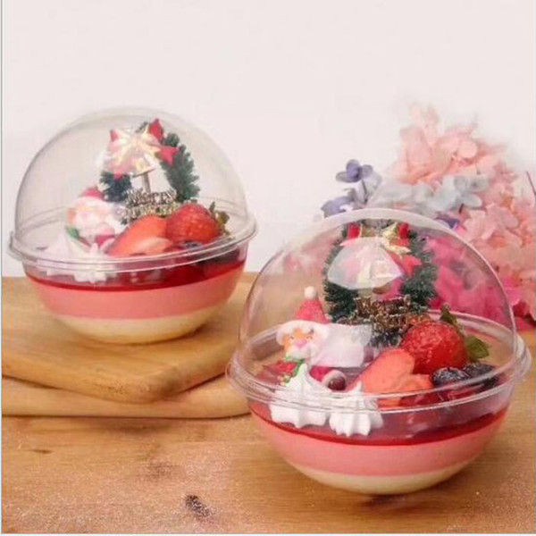 80sets Clear Plastic Mousse Cake ball Macarons packing ball Wedding cupcake Boxes Baby Shower Birthday Party Decor