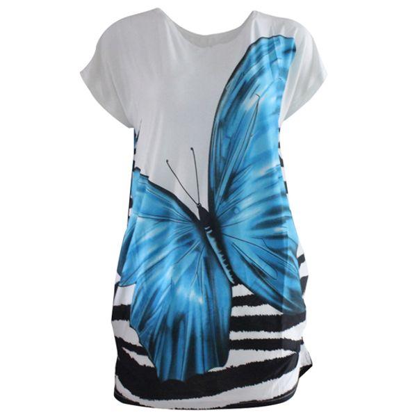 Women's Summer Beach Ice Silk Short Batwing Sleeve Loose Fit Butterfly Print Tunic Dress Oversized T-shirts Tops