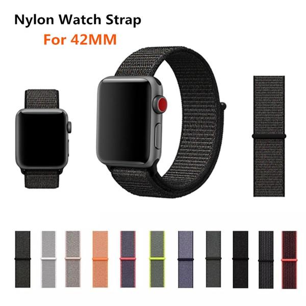 top popular Konaforen Sport Woven Nylon Strap Band For Apple Watch 3 42mm Wrist Bracelet Belt Fabric-Like Nylon Band For iWatch 3 2 1 42mm 2019