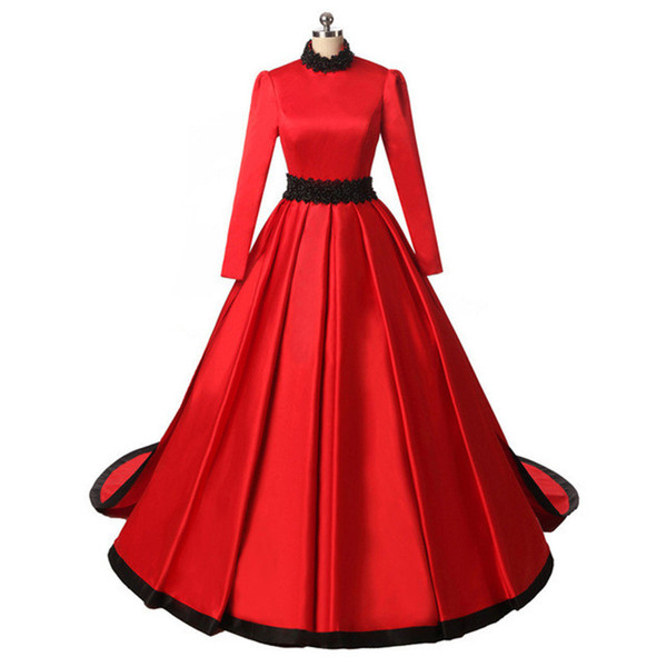 2018 Elegant Red Satin Evening Dresses High Neck A Line Formal Prom Party Gowns Custom Made Beads Women Formal Gowns