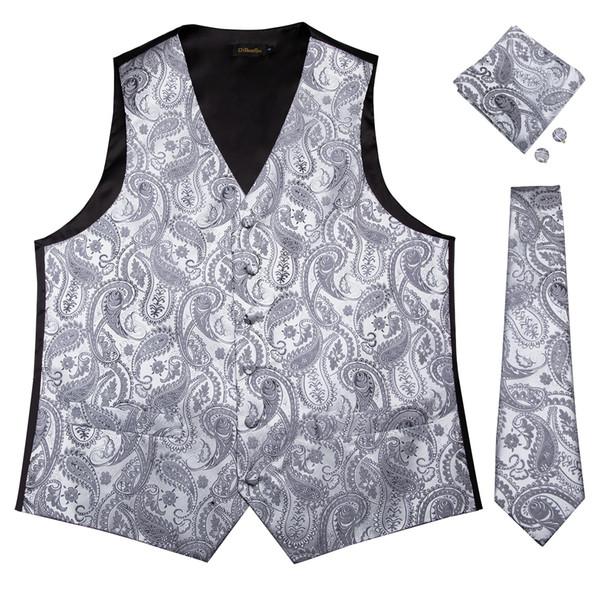 Hi-Tie Men's Classic Sliver Floral Silk Jacquard Waistcoat Vest Handkerchief Cufflinks Party Wedding Tie Vest Suit Set MJTZ-0103